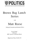 Flyer about brown bag lunch series of talks by Matt Reese at Harvard, b&w