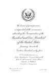 Invitation to Inauguration of Pres. Lyndon B. Johnson and VP Hubert Humphrey, Jan. 20, 1965, b&w.