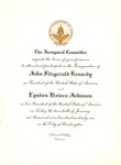 Invitation to Inauguration of John F. Kennedy, Jan. 20, 1961, col.