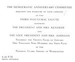 Invitation to 3rd Inaugural Salute of John F. Kennedy, Jan. 20, 1964, col.