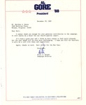 Letter from Peter Knight, Al Gore's campaign director during 1988 Presidential campaign, Dec. 29, 1987, col.
