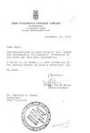 Letter of congratulations from Helen Keyes to Matt Reese, Nov. 19, 1965 b&w.