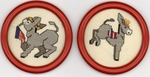 4 Needlepoint coasters of the Democratic emblems, donkey and flag,,col..