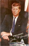 John F. Kennedy image, on postcard with first day of issue Kennedy stamp