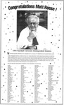 Poster congratulating Matt Reese on being named a Marshall Distinguished Alumnus, 1995, b&w