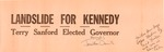 Small NC banner/poster for JFK and Terry Sanford, 1960, b&w.