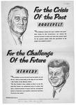 UAW bulletin board poster, JFK & Roosevelt compared, 1960, b&w.