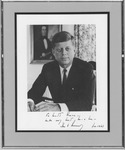 Autographed photo of Pres. John F. Kennedy, to Matthew Reese, June 1961