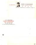 Note paper and envelope of Senator John Kennedy for President, national headquarters, Washington, ca. 1960, col.