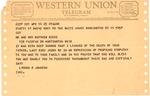 Western Union telegram from Pres. Lyndon B. Johnson to Matthew Reese, Apr. 14, 1965, col.