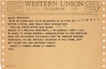 Western Union telegram from Congressman Harley O. Staggers to Matt Reese, Oct. 20, 1965, col.