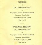 Address of Dr. J. Layton Mauzé to Congregation of First Presbyterian Church, Huntington, West Virginia, Sunday Morning, Sept. 9, 1928 / Farewell Sermon, Dr. J. Layton Mauzé to Congregation of First Presbyterian Church, Huntington, West Virginia, Sunday Evening, Sept. 9, 1928