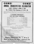 One page flyer announcing the Annual Emancipation Celebration at Gary, W.Va., Apr. 9, 1940, b&w.