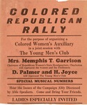"""One page flyer announcing a """"Colored Republican Rally"""", n.d., b&w."""