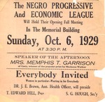 One page flyer announcing meeting of the Negro Progressive & Economic League, Oct. 6, 1929, col.