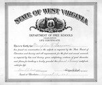 Memphis Tennessee Garrison life-time special primary teaching certificate in WVa schools, Aug. 13, 1927, b&w.