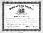 Memphis Tennessee Garrison life-time teaching certificate in WVa schools, June 23, 1937, b&w.