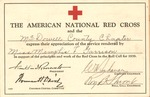 American Red Cross certificate of appreciation to Memphis Tennessee Garrison, Feb., 1939, col