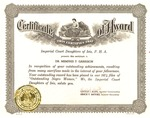 Award certificate from Imperial Court Daughters of Isis, as