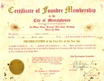 Certificate of Memphis Tennessee Garrison as founder of the City of Mentalphysics, Mar. 14, 1960, col.