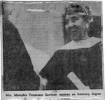 Newspaper image showing Memphis Tennessee Garrison receiving honorary degree from Marshall University, June 1, 1970, b&w.