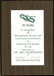 Distinguished Service Award to Memphis Tennessee Garrison, from The Links, Inc., for 25 years of service, col.