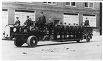 Huntington Fire Department Ladder Truck and Crew by Marshall University