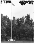 Marshall flagpole in front of Old Main, 1966