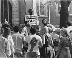 Demonstrators, in front of John Marshall bust, ca. 1970
