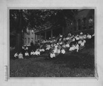 Outside of dormitory section of Old Main, ca. 1905