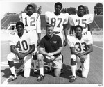 Defensive coordinator Red Dawson with five players of MU 1970 football team