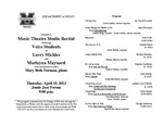 Marshall University Department of Music presents a Music Theatre Studio Recital featuring Voice Students of Larry Stickler and Marlayna Maynard