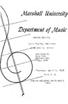 Marshall University Music Department Presents a Senior Recital, Larry Pauley, Bariton, Greg Adkins, Viola
