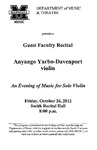 Marshall University Music Department Presents a Guest Faculty Recital, Anyango Yarbo-Davenport, violin, An Evening of Music for Solo Violin, 8 p.m.