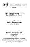 Marshall University Music Department Presents the MU Cello Festival 2012, Katya Janpoladyan, Guest Clinician