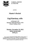 Marshall University Music Department Presents a Master's Recital, Ezgi Karakuş, cello