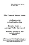 Marshall University Music Department Presents  a Joint Faculty & Student Recital, with Guest Artist, Adam Cordle, viola