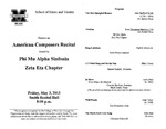 Marshall University Music Department Presents an American Composers Recital, Hosted by Phi Mu Alph Sinfonia, Zeta Eta Chapter