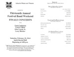 Marshall University Music Department Presents the Thirteenth Annual Festival Band Weekend, Finale Concerts, with Guest Conductors, Tracey Filben, John Lynch, Sr., Larry Blocher by Tracey Filben; John Lynch, Sr.; and Larry Blocher
