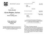 Marshall University Music Department Presents a Senior Recital, Alyssa Hughes, clarinet