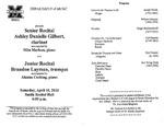 Marshall University Music Department Presents a Senior Recital, Ashley Gilbert, clarinet, accompanied by Mila Markun, piano, and, Junior Recital, Brandon Layman, trumpet, accompanied by Alanna Cushing, piano