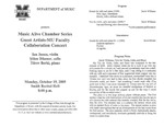 Marshall University Music Department Presents a Music Alive Chamber Series, Guest Artists-MU Faculty, Collaboration Concert, Ian Jessee, violin, Şőlen Dikener, cello, Tűrev Berki, piano