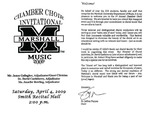 Marshall University Music Department Presents the Chamber Choir Invitational Music 2009 by James Gallagher, David Castleberry, and Jennifer Bowling
