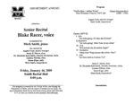 Marshall University Music Department Presents a Senior Recital, Blake Racer, voice