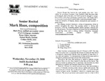 Marshall University Music Department Presents a Senior Recital, Mark Haas, composition