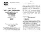 Marshall University Music Department Presents a Senior Recital, Mark Haas, composition by Mark Haas