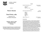 Marshall University Music Department Presents a Master's Recital, Dean Pauley, cello