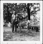 Jimmie Myers and dog Groom, Elk's Picnic, Huntington, Aug. 7, 1949