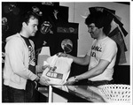 Dave Burke (left) and Mark Bates in MU student center