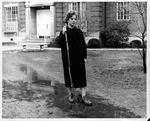 MU student Linda Cooke in front of Laidley Hall